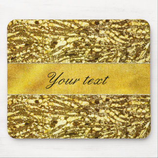 Trendy Faux Gold Foil Zebra Stripes Mouse Pad