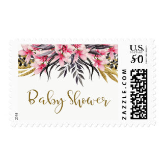 Trendy Faux Gold Glitter Floral Baby Shower Postage