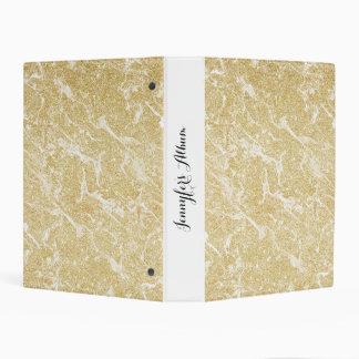 Trendy  faux gold glitter stylish marble effect mini binder