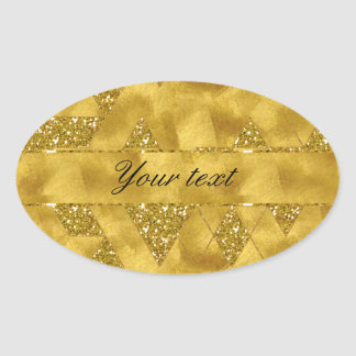 Trendy Faux Gold Glitter Triangles Oval Sticker