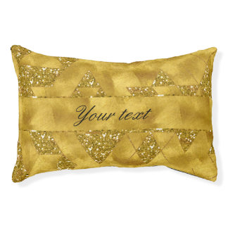 Trendy Faux Gold Glitter Triangles Pet Bed
