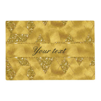 Trendy Faux Gold Glitter Triangles Placemat