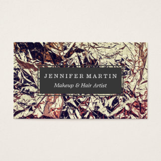 Trendy Faux Gold Leaf Crumbly Foil Business Card