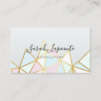 Trendy Faux Gold & Pastel Geometric Design Business Card