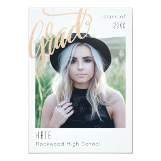 Trendy Faux Gold Sparkle Grad Announcement/invite Card