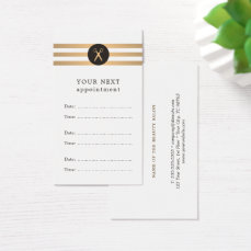 Trendy Faux Gold Stripes Hair Appointment Card