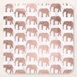 "Trendy faux rose gold elephants white marble square paper coaster<br><div class=""desc"">A modern,  trendy and stylish  faux rose gold elephants animals on white marble</div>"