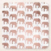 Trendy faux rose gold elephants white marble square paper coaster