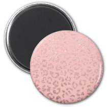 Trendy faux rose gold glitter leopard ombre pink magnet