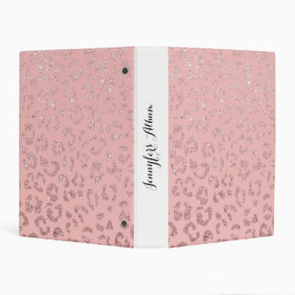 Trendy faux rose gold glitter leopard ombre pink mini binder