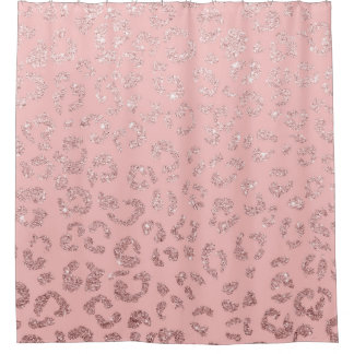 pink and gold shower curtain. Trendy faux rose gold glitter leopard ombre pink shower curtain Gold Ombre Shower Curtains  Zazzle