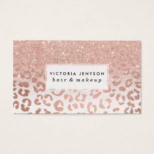 Leopard business cards 1800 leopard business card templates trendy faux rose gold glitter ombre leopard business card colourmoves Image collections