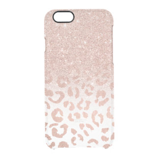 Trendy faux rose gold glitter ombre leopard clear iPhone 6/6S case