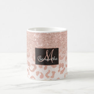Trendy faux rose gold glitter ombre leopard coffee mug