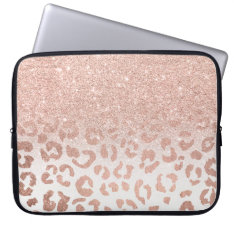 Trendy Faux Rose Gold Glitter Ombre Leopard Computer Sleeve at Zazzle