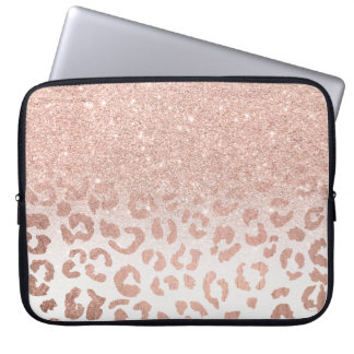 Trendy faux rose gold glitter ombre leopard computer sleeve
