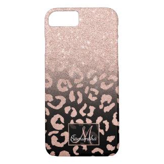 Trendy faux rose gold glitter ombre leopard iPhone 7 case