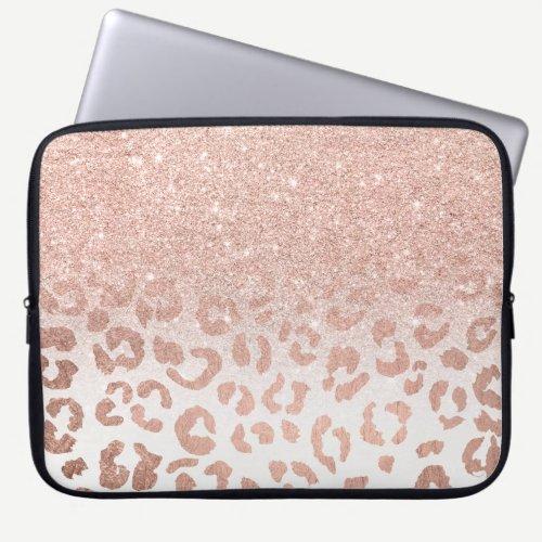 Trendy faux rose gold glitter ombre leopard laptop sleeve