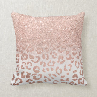 Trendy faux rose gold glitter ombre leopard throw pillow