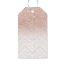 Trendy faux rose gold glitter ombre modern chevron gift tags