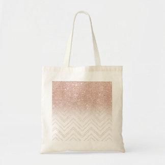 Trendy faux rose gold glitter ombre modern chevron tote bag