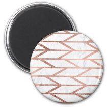 Trendy faux rose gold herringbone chevron pattern magnet
