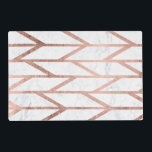 """Trendy faux rose gold herringbone chevron pattern placemat<br><div class=""""desc"""">A modern,  trendy and cool faux rose gold foil geometric herringbone chevron and stripes pattern on a white marble background.</div>"""