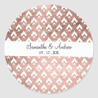 Trendy faux rose gold triangles scallop geometric classic round sticker