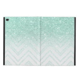 Trendy faux teal glitter ombre modern chevron powis iPad air 2 case