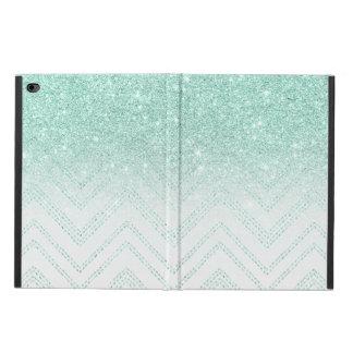 Trendy faux teal glitter ombre modern chevron powis iPad air 2 case