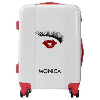 Trendy Feminine Chic Eyelashes & Lips Personalized Luggage