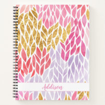 Trendy Feminine Faux Gold Watercolor Pattern Girly Notebook