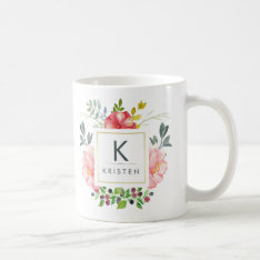 Trendy Feminine Watercolor Peony Flowers Monogram Coffee Mug at Zazzle