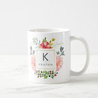 Trendy Feminine Watercolor Peony Flowers Monogram Coffee Mug
