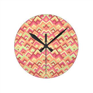 Trendy Feminine Zigzag Symmetric Peeks Pattern Round Wall Clocks