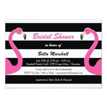 Beach Themed Trendy Flamingo Bridal Shower Invitation