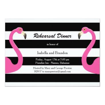 Beach Themed Trendy Flamingo Rehearsal Dinner Invitation