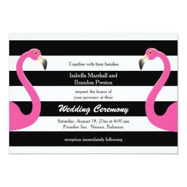 Beach Themed Trendy Flamingo Wedding Invitation