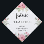 """Trendy Floral and Script   Your Future Job Graduation Cap Topper<br><div class=""""desc"""">This stylish design lets you brag about your future dream job! Simply add your dream job title,  along with your name and class year. Blush pink watercolor flowers decorate the corners.</div>"""