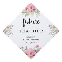 Trendy Floral and Script | Your Future Job Graduation Cap Topper