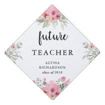 Trendy Floral and Script   Your Future Job Graduation Cap Topper