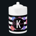 """Trendy Floral Black & White Stripes Personalized Teapot<br><div class=""""desc"""">Stylish decorative design featuring flowers in pastel shades on a black and transparent horizontal striped background. The text is fully customizable. To change it use the personalize option. For more changes,  such as changes to the font,  font color or text layout,  use the customize option.</div>"""