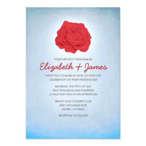 Trendy Floral Blue And Red Wedding Invitations