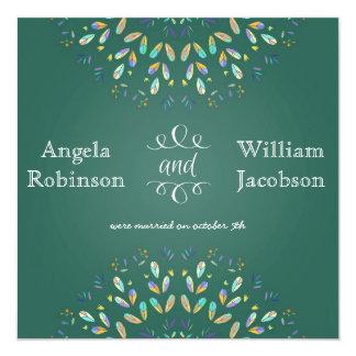 "Trendy Floral Chalkboard Post Wedding Invitation 5.25"" Square Invitation Card"