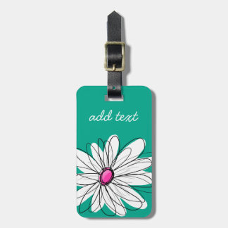 Trendy Floral Daisy Illustration - Pink and Green Bag Tag