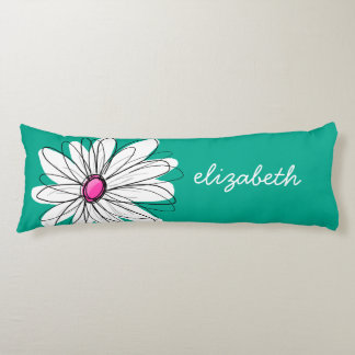 Trendy Floral Daisy Illustration - Pink and Green Body Pillow