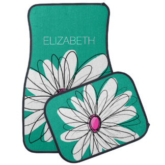 Trendy Floral Daisy Illustration - Pink and Green Car Mat