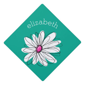 Trendy Floral Daisy Illustration - Pink and Green Graduation Cap Topper