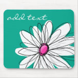 Trendy Floral Daisy Illustration - Pink and Green Mouse Pad