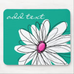 """Trendy Floral Daisy Illustration - Pink and Green Mouse Pad<br><div class=""""desc"""">A zen and whimsical,  hipster piece of art. You can add a name,  monogram or other custom text. If you need to move the art around,  click on the customize button to make changes.</div>"""